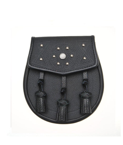 Circular Design Studded Black Leather Sporran