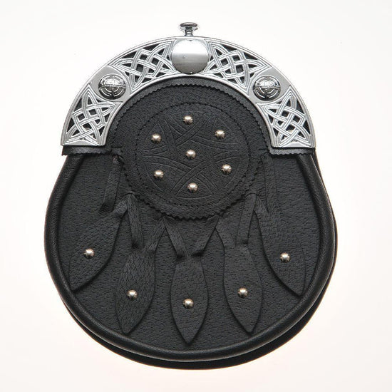 Celtic Knot and Studded Targe Black Leather Sporran