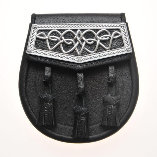 Black Leather Celtic Interweave Plate Sporran