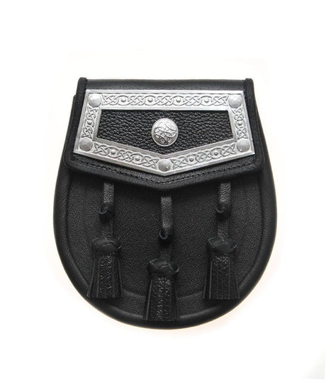 Black Leather Celtic Plate Sporran