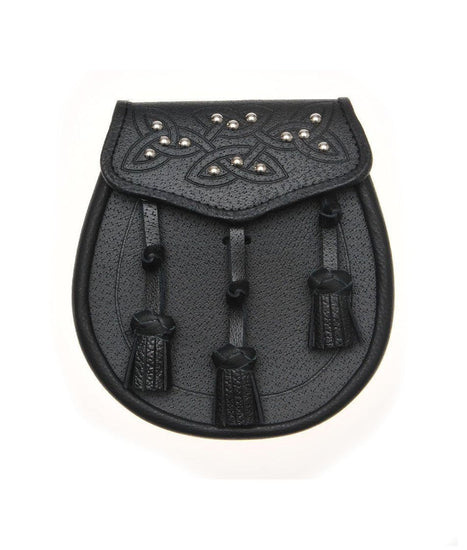 Black Leather 14 Stud Celtic Embossed Sporran