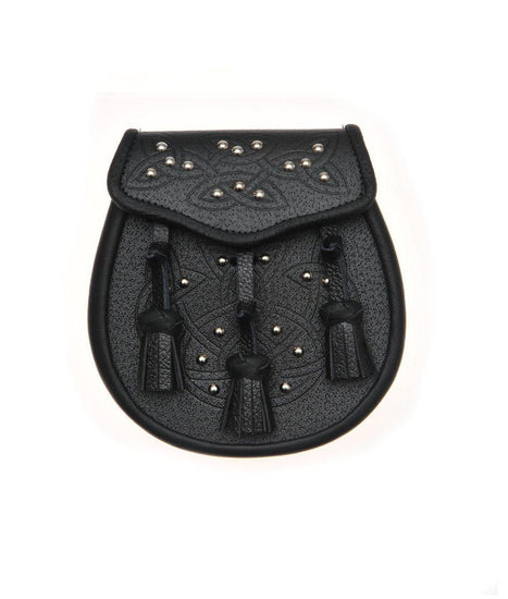 Black Leather Celtic Embossed Studded Leather Sporran