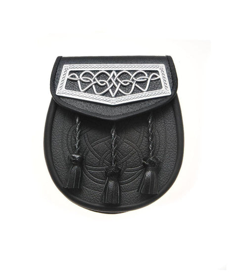 Black Leather Celtic Interweave Plate Embossed Sporran