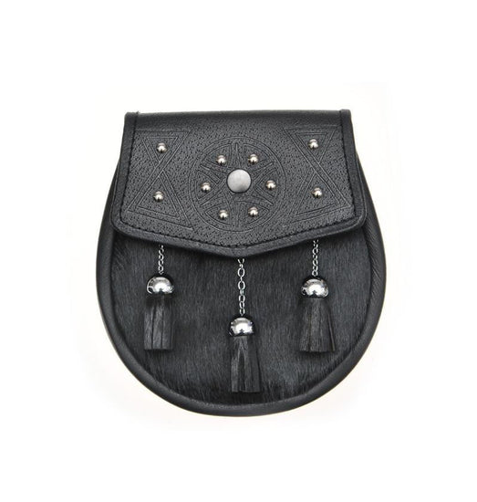 Semi Dress Black Calfskin Circular Studded Sporran