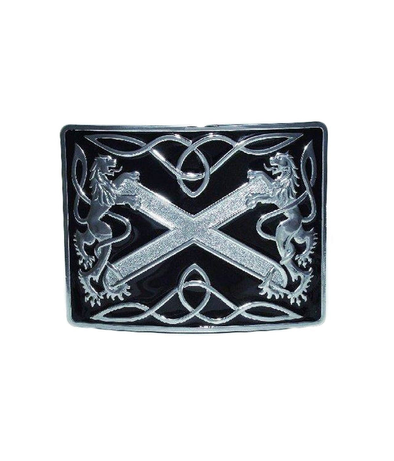 Saltire Lion Rampant Enamel Belt Buckle - Chrome/Antique Finish - 2 Colours