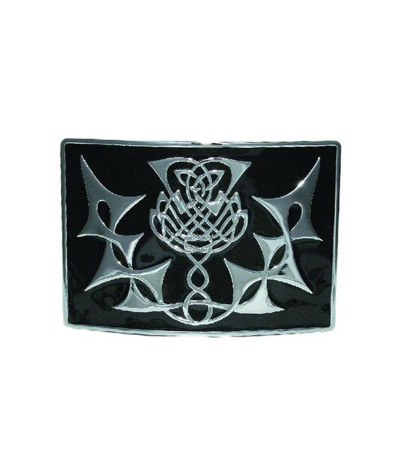 Highland Thistle, Enamel Belt Buckle - Chrome/Antique Finish - 5 Colours