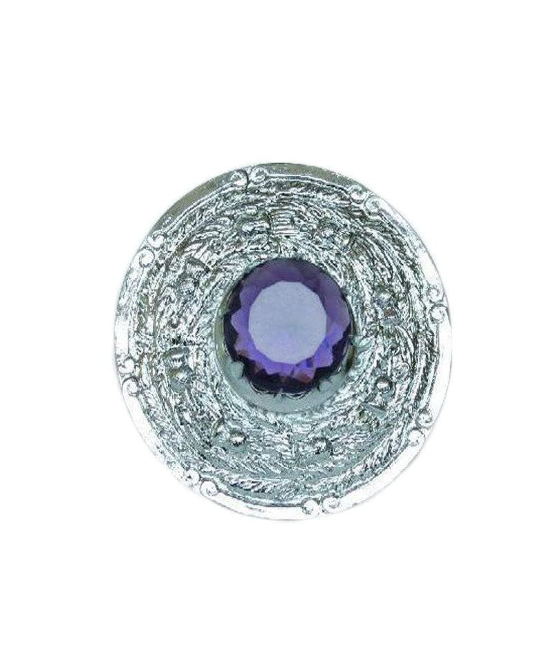 Amethyst Stone Intricate Thistle Plaid Brooch