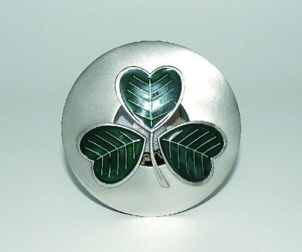 Green Enamel Shamrock Plaid Brooch - Antqiue