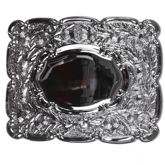 Oval Mirror Design Belt Buckle - Chrome Finish
