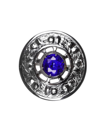 Thistle Design and Blue Stone Brooch - Chrome Finish