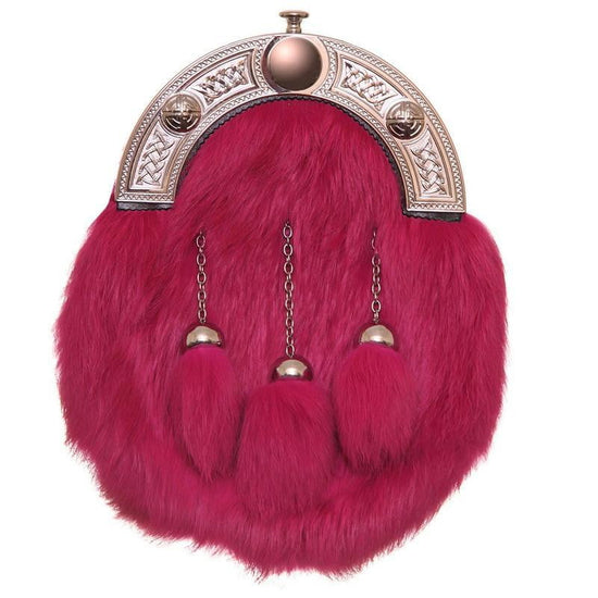 Full Dress Chrome Celtic Knot - Deep Pink Rabbit Fur