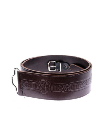 Brown Celtic Swirl Hide Embossed Kilt Belt
