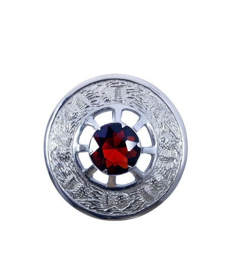 Thistle Design and Orange Stone Brooch - Chrome Finish