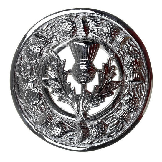 Thistle Design and Thistle Centre Brooch - Chrome Finish
