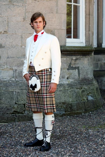 Ivory Prince Charlie Jacket with 5 Button Vest, Scottish Made