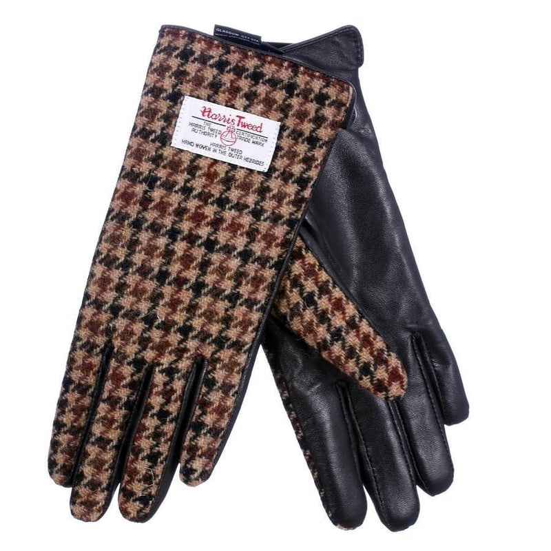 Ladies Harris Tweed Gloves - Brown Dogtooth / Brown Leather
