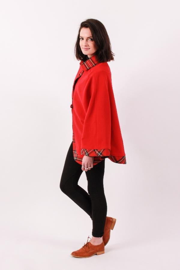 Ladies Kerry Cape - Red with Royal Stewart trim