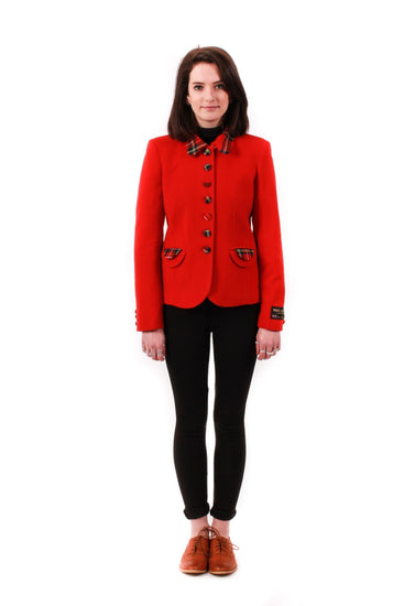Ladies Fashion Jacket - Red With Red Tartan Detail