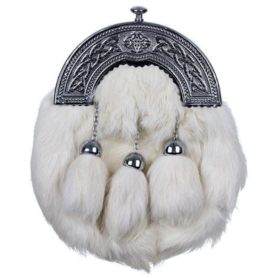 Chrome Plain Celtic Cantle Sporran - White Rabbit Fur