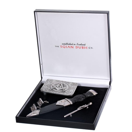 Masonic 4 Piece Sgian Dubh Gift Set with Stone Top
