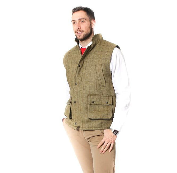 Mens Tweed Bodywarmer – Sage