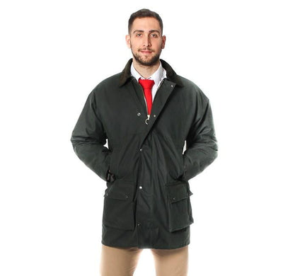 Mens Cotton Wax Padded Jacket - Olive Green
