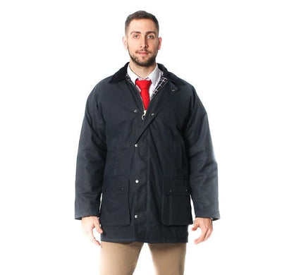 Mens Cotton Wax Padded Jacket - Navy