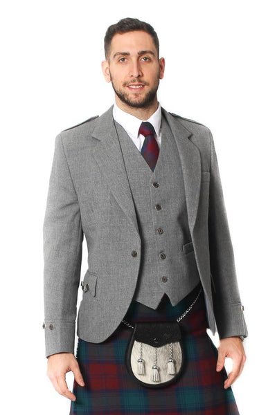 Tweed Argyle Jacket and 5 Button Vest - Light Grey Tweed