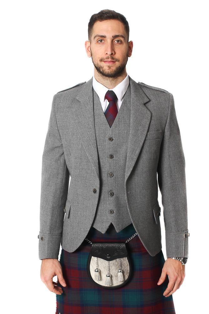 Tweed Argyle Jacket and 5 Button Vest - Light Grey Tweed – Scotland Kilt Co a617c8003f1b