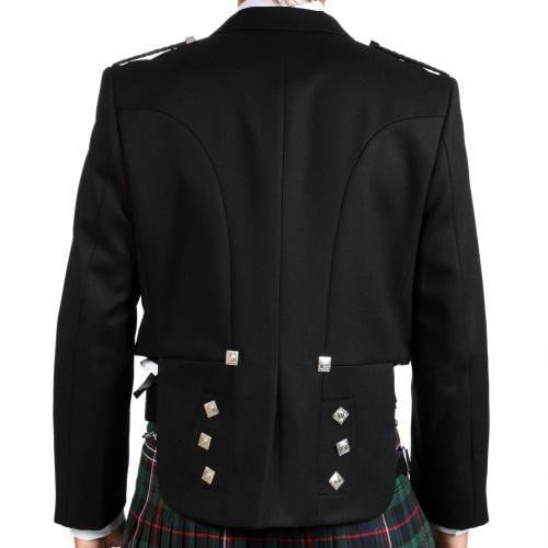 Prince Charlie Jacket, 100% Black Barathea Wool - Imported