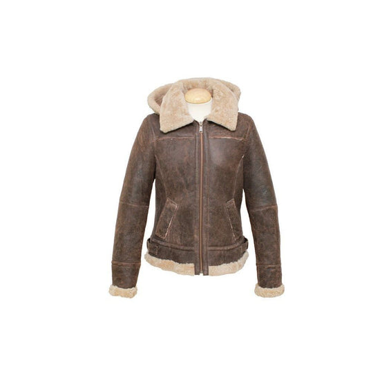 New Sheepskin Aviator Style Ladies Leather Coat - Jessie - Chocolate