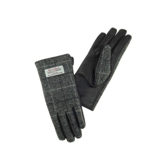 Ladies Harris Tweed Gloves - Grey Check/Black Leather