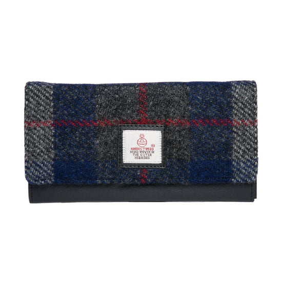 Authentic Scottish Harris Tweed - Envelope Purse - Blue Check
