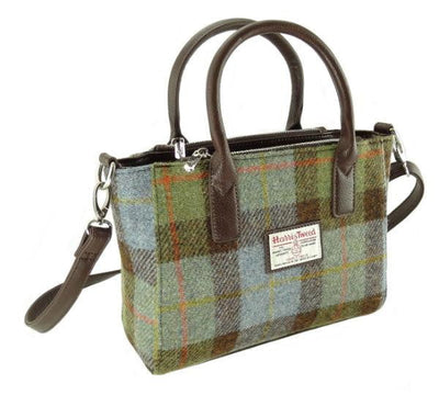 Harris Tweed Small Tote Bag - Brora - Green/Blue Check