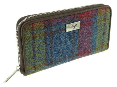 Harris Tweed Long Zip Purse - Red/Green/Blue Check