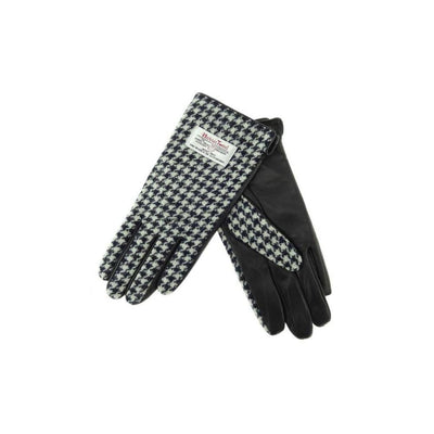 Ladies Harris Tweed Gloves - Black Dogtooth/Black Leather