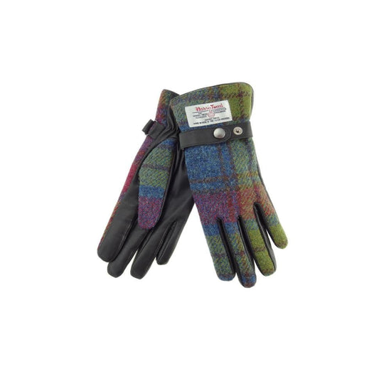 Ladies Harris Tweed Gloves - Pink-Green-Blue Tartan/Brown Leather