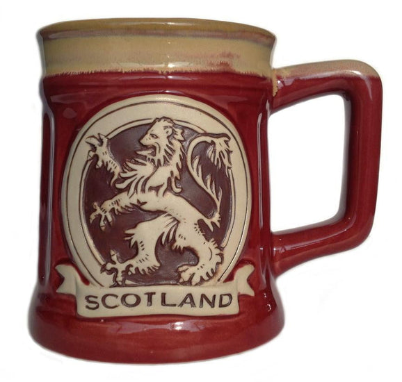 Stoneware Mug with Lion Rampant - Red