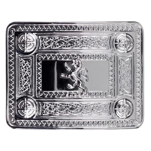 Lion Rampant Celtic Knot Belt Buckle - Chrome Finish