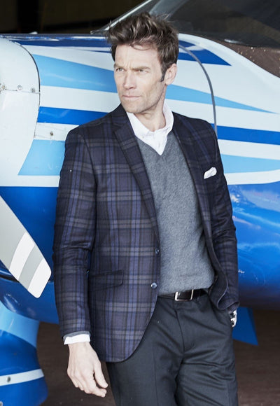 Mazzaro Pure New Wool Fashion Fit Check Jacket by Brook Taverner