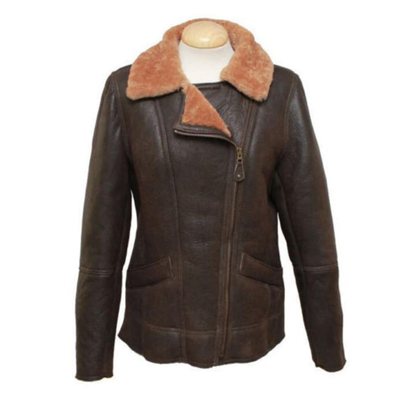 New Sheepskin Aviator Style Ladies Leather Coat - Mepal - Caramel
