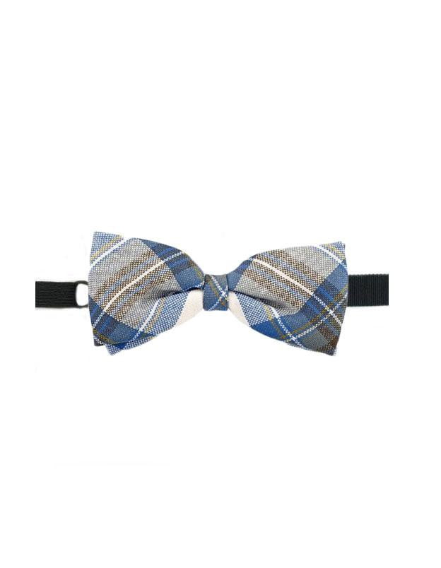 100% Wool Tartan Bow Tie - Stewart Muted Blue