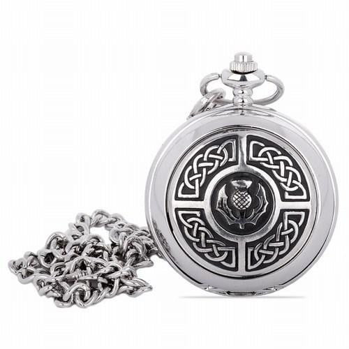 Quartz Full Hunter Pocket Watch - Celtic Knots Around Thistle Crest