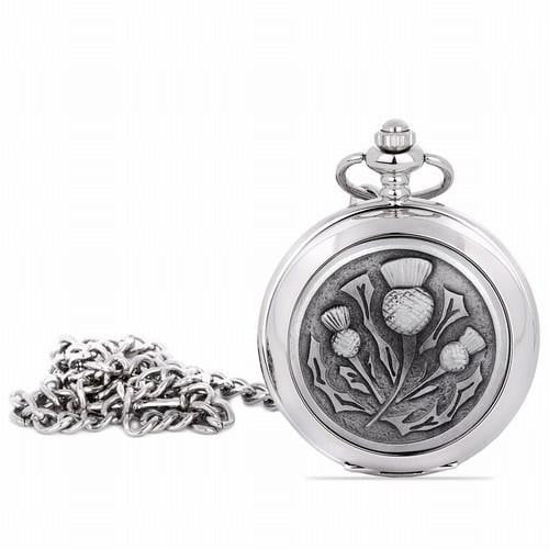 Quartz Half Hunter Pocket Watch - Thistle Design