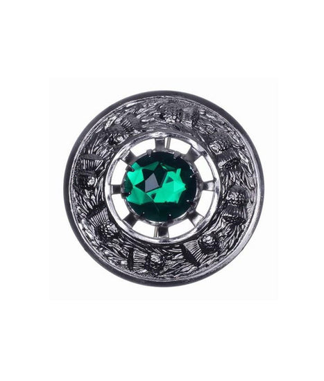 Thistle Stone Plaid Brooch - Chrome Finish - 4 Colours