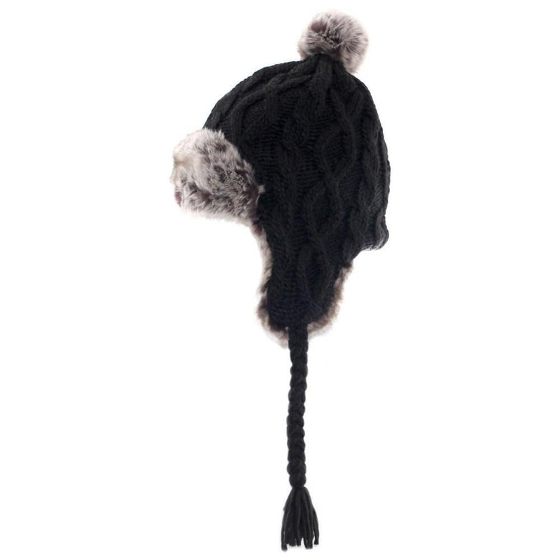 Stylish Cable Knitted Trapper Hat in Black