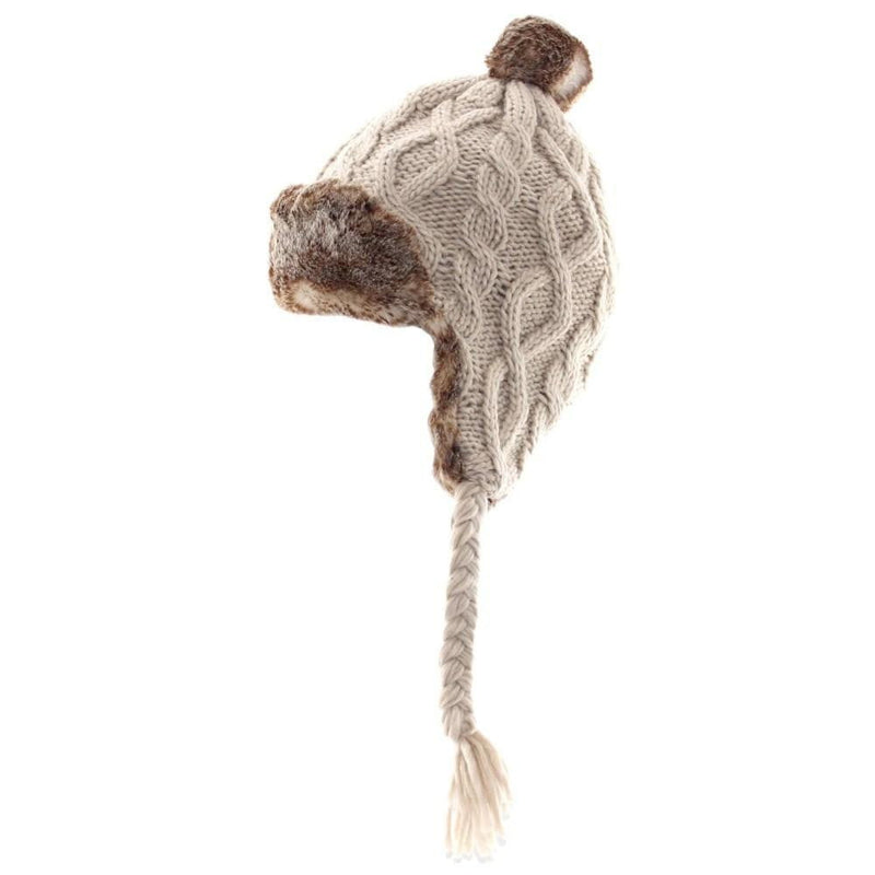 Stylish Cable Knitted Trapper Hat in Oatmeal