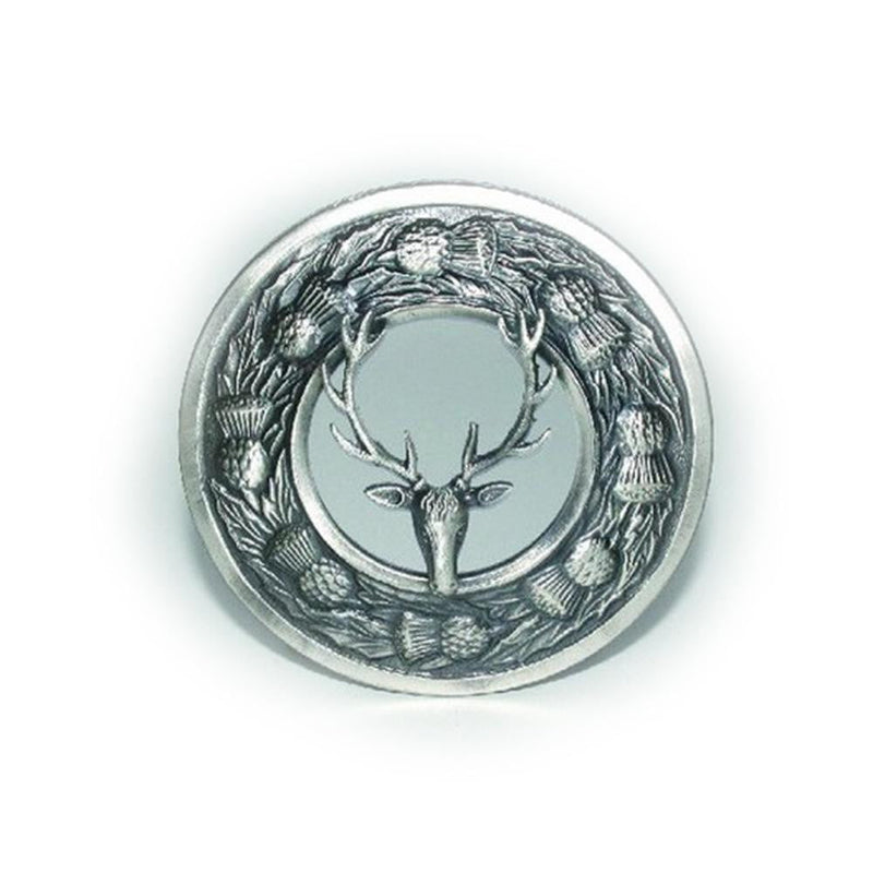 Stag Thistle Design Plaid Brooch - Antique Finish