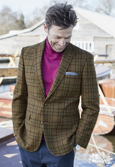 Otter Pure New Wool Classic Fit Check Jacket by Brook Taverner