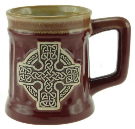 Stoneware Mug with Celtic Cross - Red